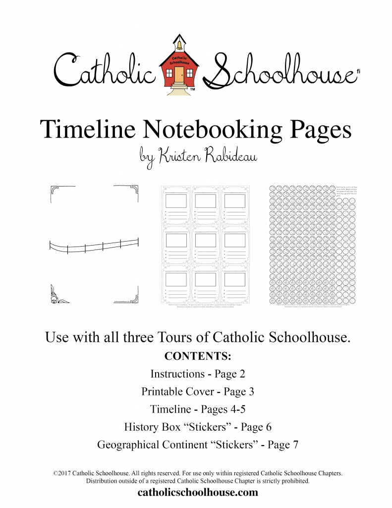 Catholic Schoolhouse Timeline Notebooking Pages