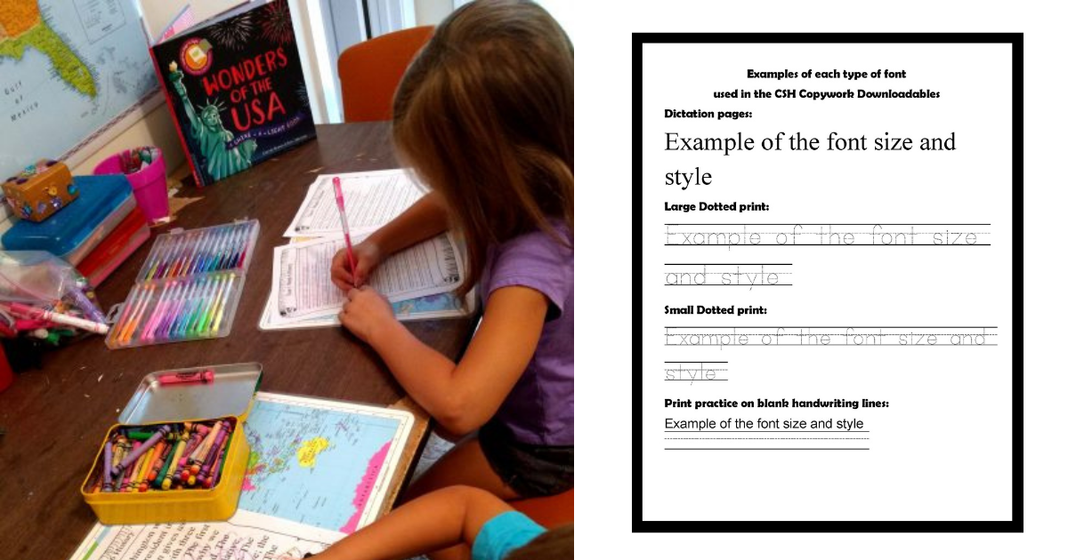 Using the CSH Copywork and Dictation pages
