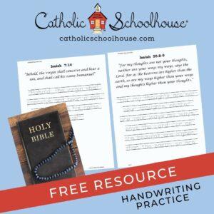 Catholic Schoolhouse Biblical Verse Isaiah Handwriting Practice Worksheets