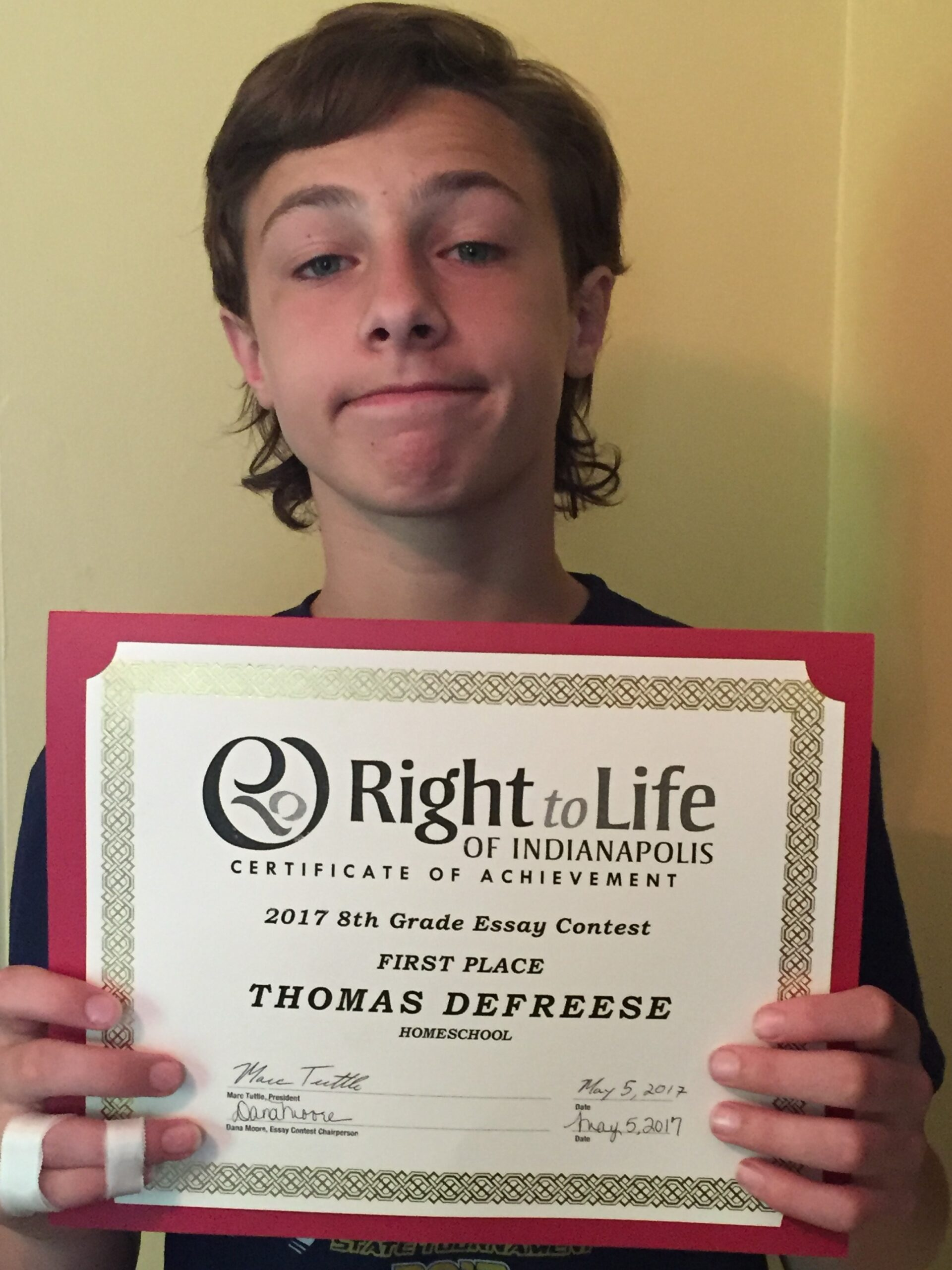 CSH's Right to Life Essay Contest Winner!