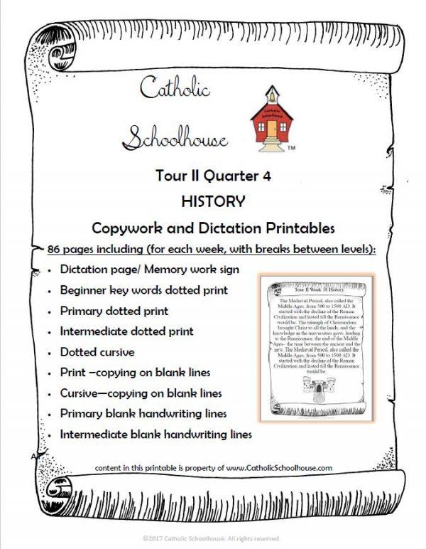 Tour II Quarter 4 History Dictation and Copywork