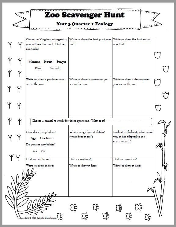 zoo scavenger hunt printable for an ecology field trip catholic schoolhouse. Black Bedroom Furniture Sets. Home Design Ideas